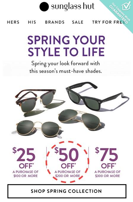 Save $35 at Sunglass Hut with coupon code 35O (click to reveal full code). 11 other Sunglass Hut coupons and deals also available for December